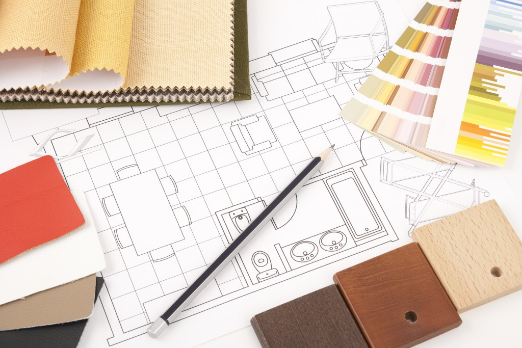 Worktable interior design with drawing and decoration materials