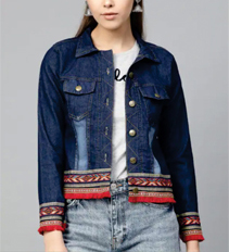 Fusion Fashion_ Embroidered Cropped Jacket with Long T-shirt and Ripped Jeans