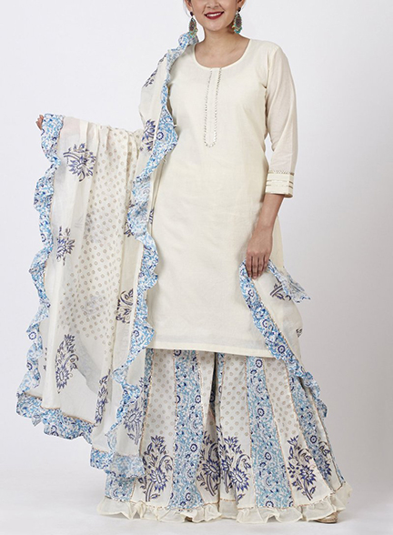 Fusion Fashion_ Strappy Ruffle Dress with Palazzo & Dupatta