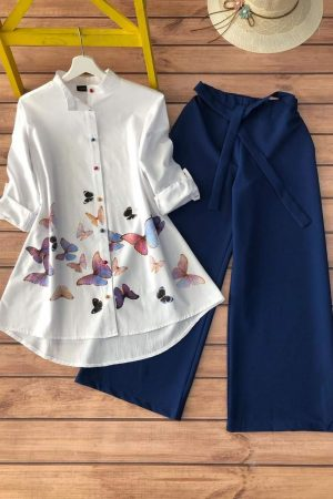 Fusion Fashion_ White Button Down with Printed Palazzos