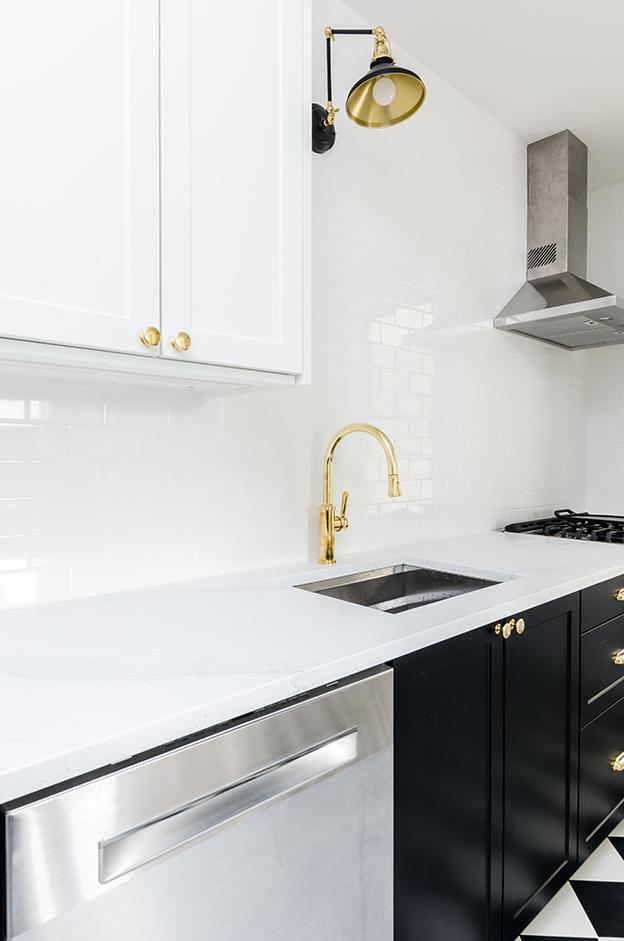 black or white modular kitchen setting